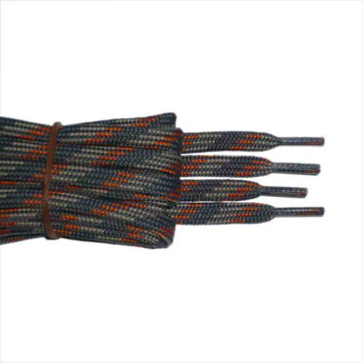 Schnürsenkel/Schuhband halbrund 120 cm grau/hellgrau/orange für Bergsport, Trekking, Outdoor