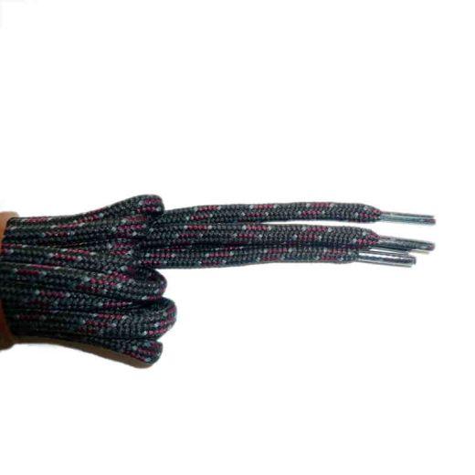Schnürsenkel/Schuhband rund dick 120 cm schwarz/grau/rot für Bergsport, Trekking, Outdoor