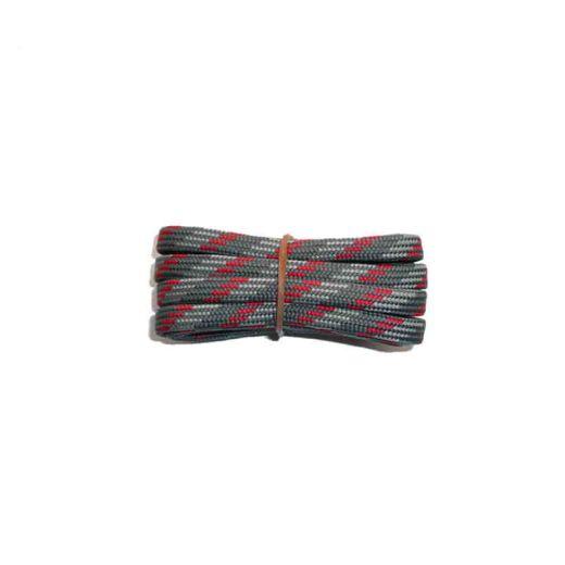 Schnürsenkel/Schuhband halbrund 200 cm grau/hellgrau/rot für Bergsport, Trekking, Outdoor