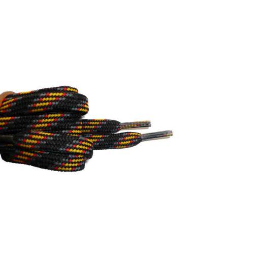 Schuhband halbrund 180 cm schwarz/grau/rot/gelb für Bergsport, Trekking, Outdoor