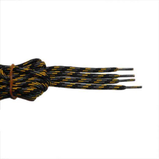 Schnürsenkel/Schuhband rund dick 180 cm schwarz/grau/gelb für Bergsport, Trekking, Outdoor
