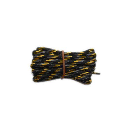 Schuhband rund dick 200 cm schwarz/grau/gelb für Bergsport, Trekking, Outdoor