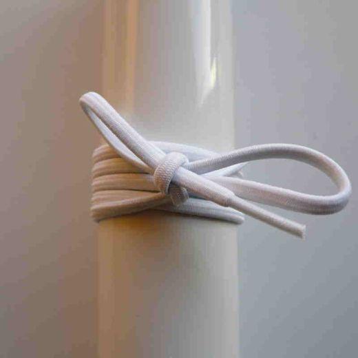 Schnürsenkel/Schuhband Gummi dünn, rund, 45 cm, weiss