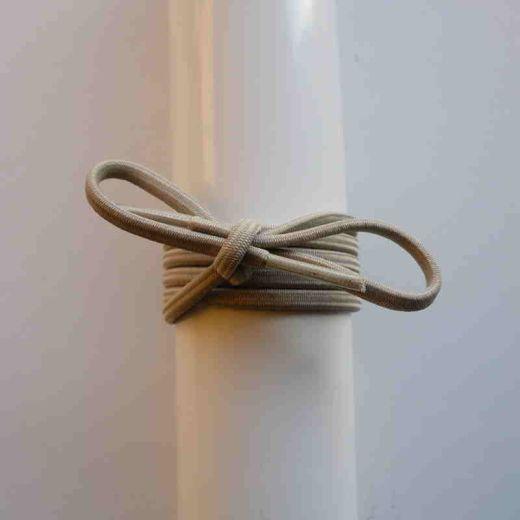 Schuhband Gummi dünn, rund, 65 cm, hellbeige