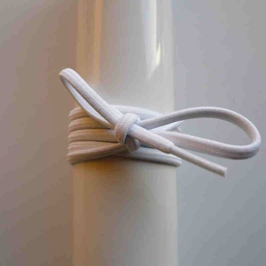 Schnürsenkel/Schuhband Gummi dünn, rund, 75 cm, weiss