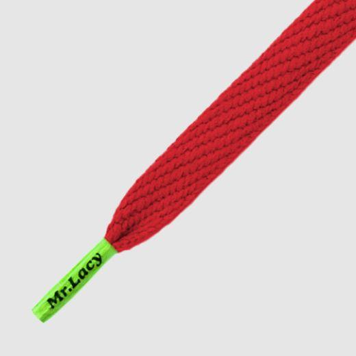 Mr Lacy 130 cm red / neon green tip, Flatties