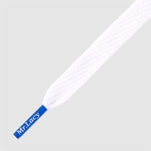 Mr Lacy 130 cm white / royal blue tip, Flatties