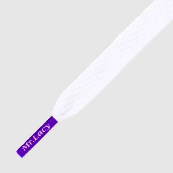 Mr Lacy 130 cm white / violet tip, Flatties