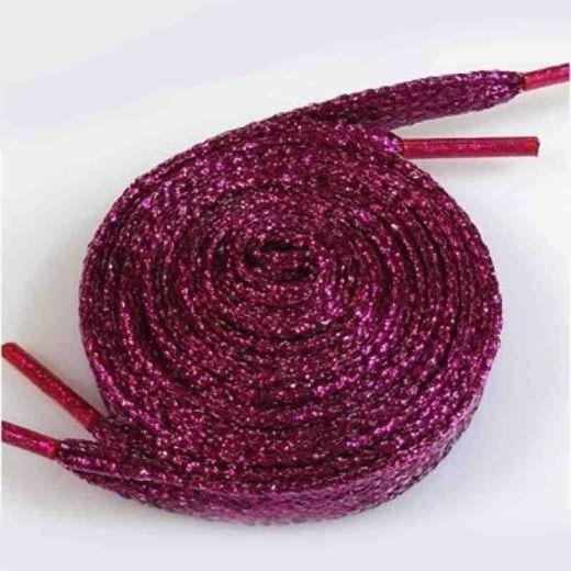 Glitzer Schuhbänder 110 cm, rose