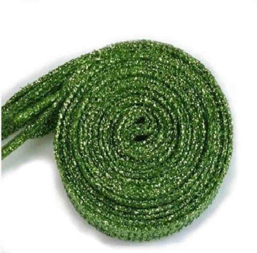 Glitzer Schuhbänder 110 cm, grün