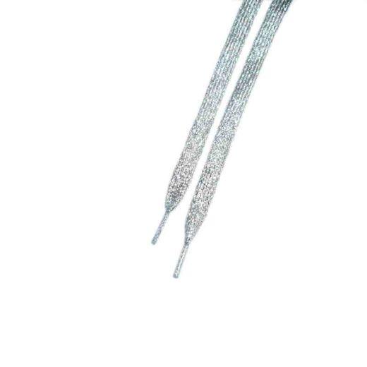 Glitzer Schuhbänder 110 cm, silber