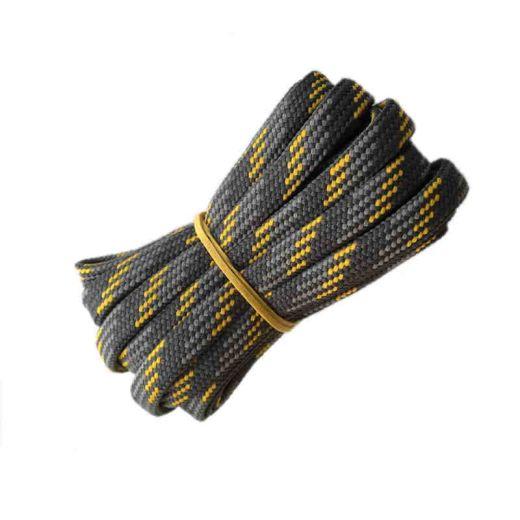 Schnürsenkel/Schuhband halbrund 180 cm dunkelgrau/grau/gelb für Bergsport, Trekking, Outdoor