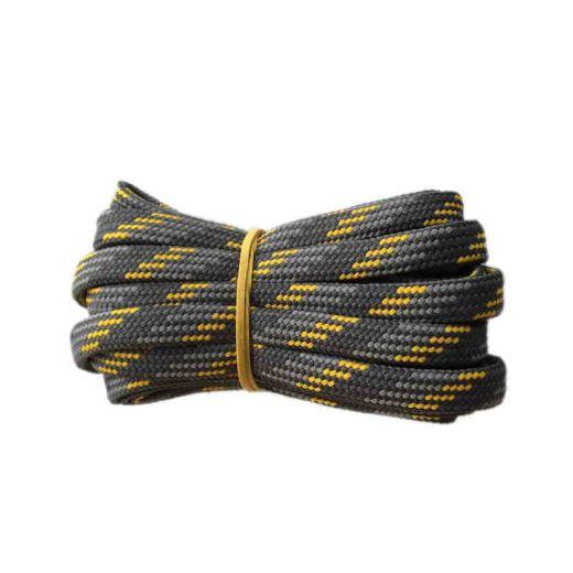 Schnürsenkel/Schuhband halbrund 200 cm dunkelgrau/grau/gelb für Bergsport, Trekking, Outdoor