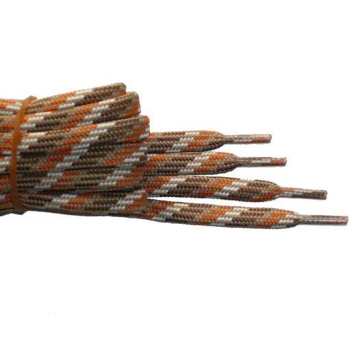 Schuhband halbrund 180 cm braun/hellbraun/orange/weiss für Bergsport, Trekking, Outdoor
