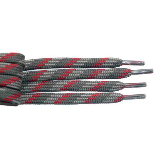 Schnürsenkel/Schuhband halbrund 120 cm grau/hellgrau/rot für Bergsport, Trekking, Outdoor