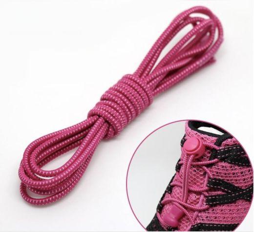 Elastic Locking Laces Pink-White
