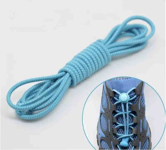 Elastic Locking Laces Turquoise-White