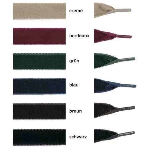 Samt Schnürsenkel, Samtband 120 cm grün