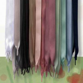 Satin Shoelaces, Satin Ribbon 120 cm grey