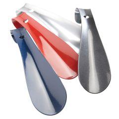 Schuhanzieher Metall mit Loch/Haken 16 cm blau